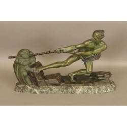 Bronze Art-deco Signed Ouline