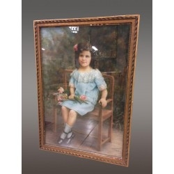 Large Framed Pastel Signed M.j Viret 1913
