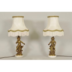Pair Of Lamps Signed Moreau