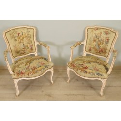Louis XV style armchairs Aubusson Tapestry