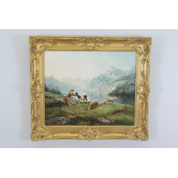 Théodore Lévigne : Shepherdess And Sheep In The Mountain