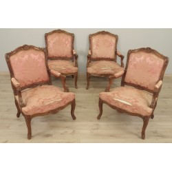 Four Flat Back Armchairs Louis XV style