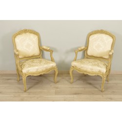 Pair of Louis XV style Chassis Armchairs
