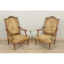 Napoleon III armchairs Petit Point Tapestry