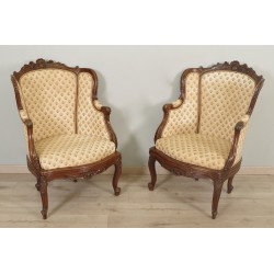 Pair Of Louis XV Style Walnut Bergères