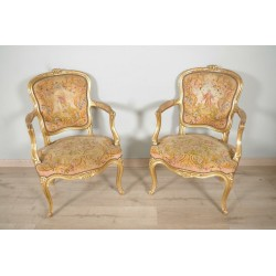 Louis XV style gilded wood armchairs small point