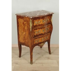 Louis XV Style Chest Of Drawers Flower Marquetry