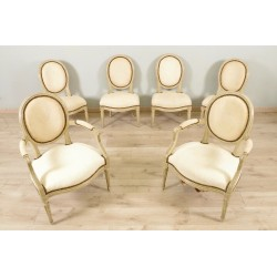 Two Armchairs And Four Chairs Painted Louis XVI period