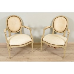 Pair of painted armchairs Louis XVI period