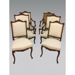 Living room 4 armchairs two chairs Louis XV style