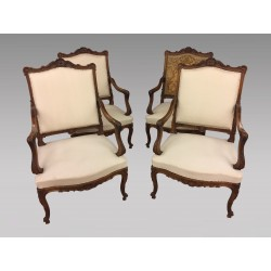 Louis XV style armchairs walnut