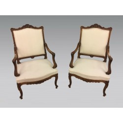 Pair of Louis XV style armchairs walnut