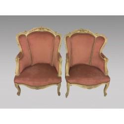 Paire de bergères peintes style Louis XV