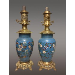 Pair Of Napoleon III Cloisonné Lamps