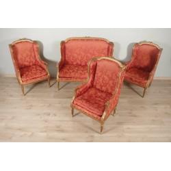 Louis XVI style living room, gilded wood